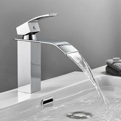 CECIPA Robinet Lavabo Cascade Mitigeur de Salle de Bain Robinet Cascade pour Vasque Solide Robinetterie de Super Qualité