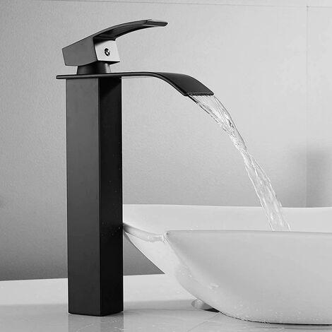 CECIPA Wasserhahn Bad   Waschtischarmaturen mit Hoher Wasserfall Auslauf für Badezimmer Waschbecken   Schwarz