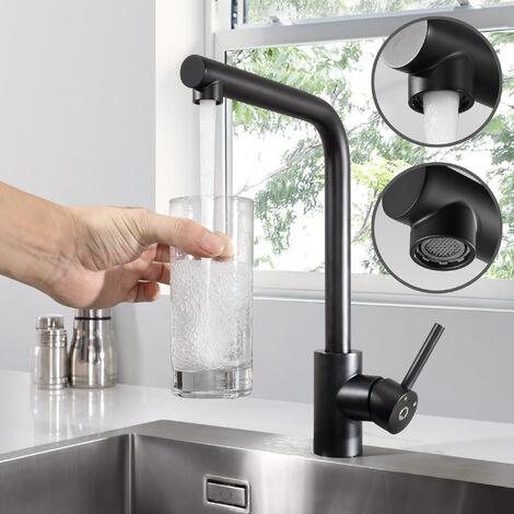 CECIPA Wasserhahn Küche 360°Schwenkbereich Einhebel | Schwarz Wasserhahn Küchenarmatur Einhandmischer Spüle