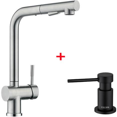 """CECIPA Wasserhahn Küche Elegant """"J-Form"""" Mischbatterie Küchenarmatur 360° drehbar Schwenkbarer Armatur für Küche Waschbecken"""