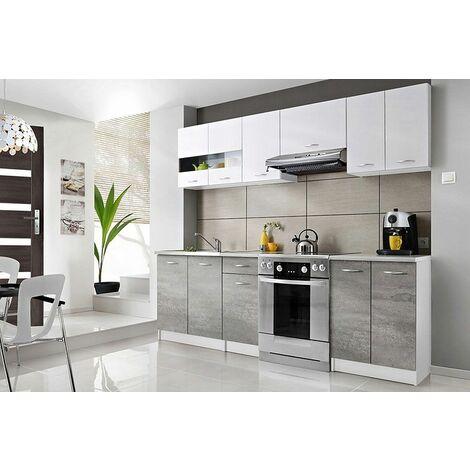 CEDAR | Cuisine Complète linéaire L 2,4 m 7 pcs + Plan de travail INCLUS | Ensemble meubles armoires cuisine moderne scandinave - Blanc/Gris