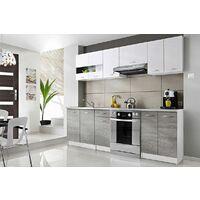 CEDAR | Cuisine Complète linéaire L 2,4 m 7 pcs + Plan de travail INCLUS | Ensemble meubles armoires cuisine moderne scandinave | Blanc/Gris