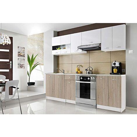 CEDAR | Cuisine Complète scandinave 2,4 m 7 pcs + Plan de travail INCLUS | Ensemble meubles armoires cuisine moderne linéaire - Blanc/Sonoma