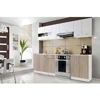 CEDAR | Cuisine Complète scandinave 2,4 m 7 pcs + Plan de travail INCLUS | Ensemble meubles armoires cuisine moderne linéaire | Blanc/Sonoma
