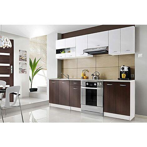 CEDAR | Cuisine Complète scandinave L 2,4 m 7 pcs + Plan de travail INCLUS | Ensemble meubles armoires cuisine moderne linéaire - Blanc/Wenge