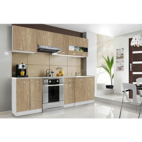 CEDAR | Cuisine Complète Scandinave L 2,4 m 7 pcs + Plan de travail INCLUS | Ensemble meubles/armoires cuisine moderne linéaire - Sonoma