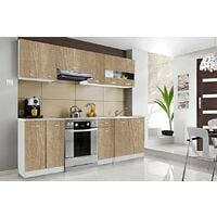 CEDAR | Cuisine Complète Scandinave L 2,4 m 7 pcs + Plan de travail INCLUS | Ensemble meubles/armoires cuisine moderne linéaire | Sonoma