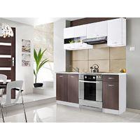 CEDAR M | Cuisine Complète compacte 1,8m | 5 pcs + Plan de travail INCLUS | Ensemble meubles armoires cuisine moderne linéaire | Blanc/Wenge