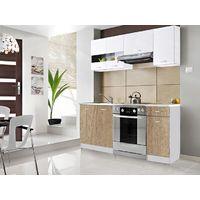 CEDAR M | Cuisine Complète compacte L 1,8m | 5 pcs + Plan de travail INCLUS | Ensemble meubles armoires cuisine moderne linéaire | Blanc/Sonoma