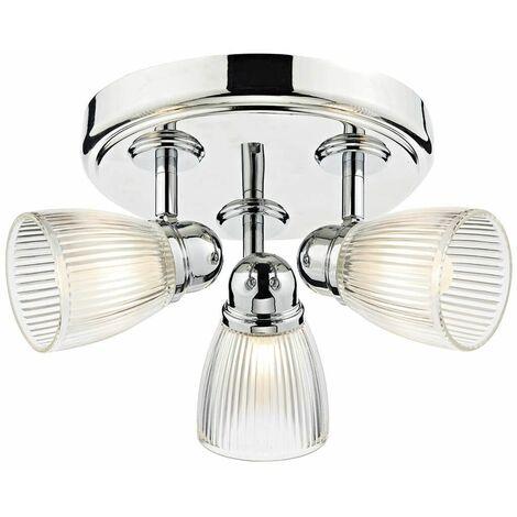Cedric ceiling light polished chrome and glass 3 lights