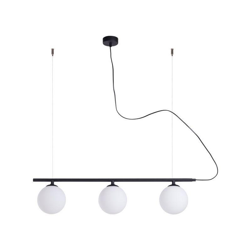Homemania - Cefeo Black Haengelampe - Kronleuchter - Deckenkronleuchter - Schwarz aus Metall, Glas, 80 x 14 x 90 cm, 3 x E14, Max 40W