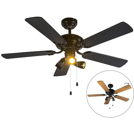Ceiling fan black - Mistral 42