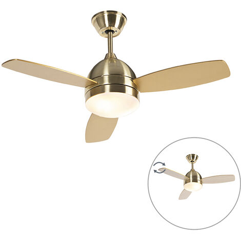 Ceiling fan brass 2-lights with remote control - Rotar