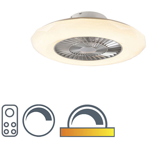 Ceiling fan silver incl. LED with star effect dimmable - Clima