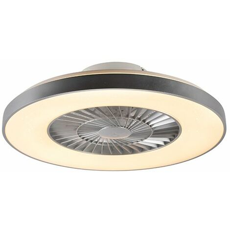 """main image of """"Ceiling fan silver with star effect dimmable - Climo"""""""