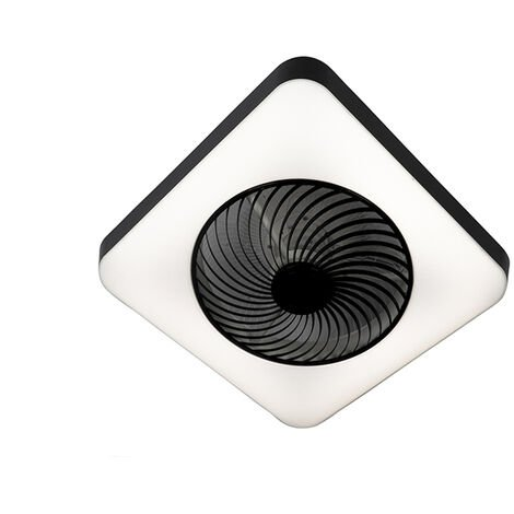 Ceiling fan square black incl. LED dimmable - Climo