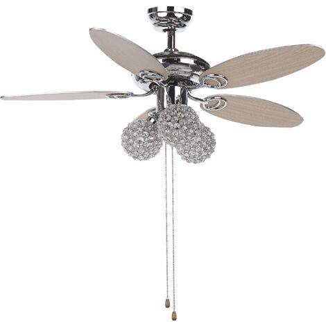 Ceiling Fan with Light Silver HEILONG