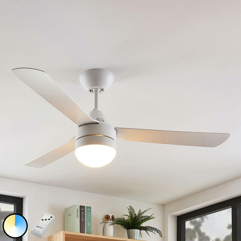 Image of Arcchio - Ceiling Fans with Lighting 'Andi' (modern) in White (1 light source, E14, A++) from