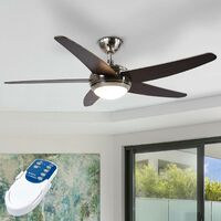 "Ceiling Fans with Lighting ""Anneka"" with remote control (modern) in Brown made of Wood (1 light source, R7s 78.3 mm, C) from Lampenwelt"