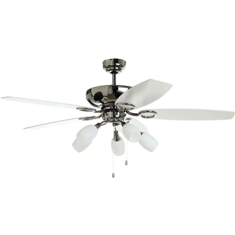 Ceiling Fans With Lighting Cedrik In White Made Of Wood 5 Light Sources E14 A From Lampenwelt