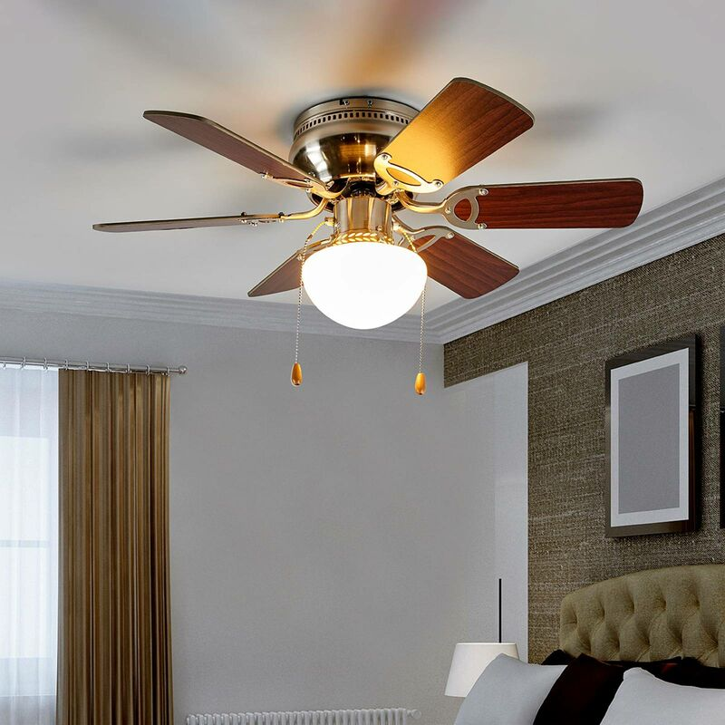 Ceiling Fans With Lighting Flavio Modern In Brown Made Of Wood 1 Light Source E27 A From Lampenwelt