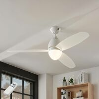 "Ceiling Fans with Lighting ""Piara"" with remote control (modern) in White made of Plastic for e.g. Bedroom (2 light sources, E27, A++) from Lampenwelt"