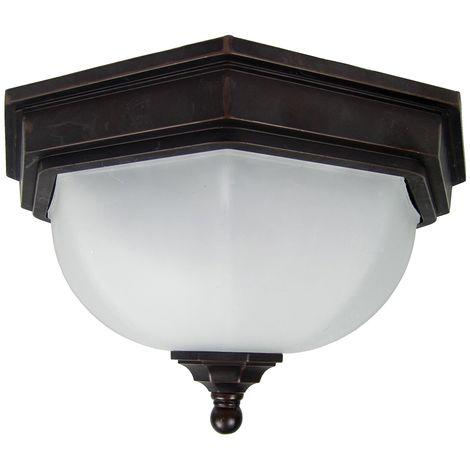Ceiling Flush Outdoor Lantern In Old Bronze by Washington Lighting