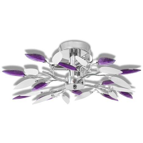 Ceiling Lamp Acrylic Crystal Leaf Arms 3 E14 Bulbs White & Transparent - White