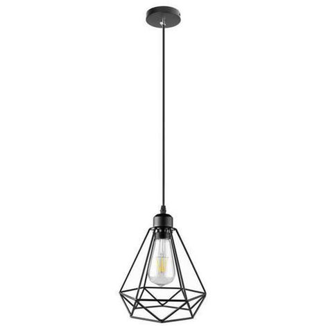 Ceiling Lamp Antique Classic Lamp Creative Ajustable DIY Black Diamond Cage Chandelier E27 Bulbs for Cafe Bedroom Indoor Decoration
