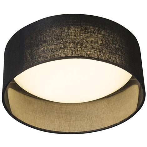 Ceiling Lamp Black 28cm incl. LED - Drum Combi