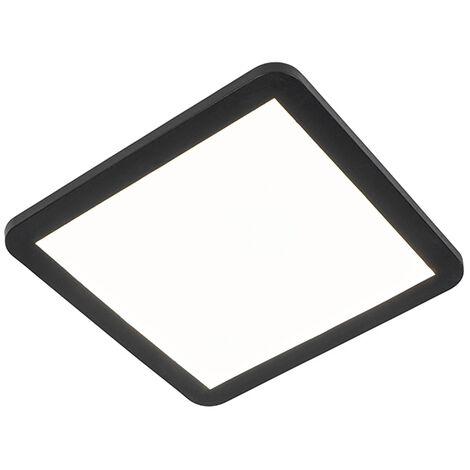 Ceiling lamp black 30 cm incl. LED 3-step dimmable IP44 - Steve