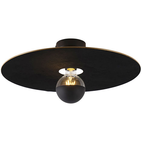Ceiling lamp black flat shade black 45 cm - Combi