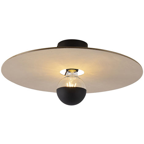 Ceiling lamp black flat shade taupe 45 cm - Combi
