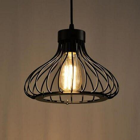 Ceiling Lamp Black industrial metal retro style cage chandelier