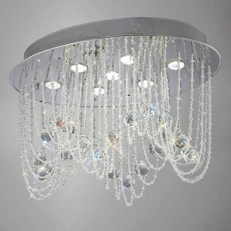 Image of 09-diyas - Ceiling lamp Camilla oval 7 bulbs polished chrome / crystal