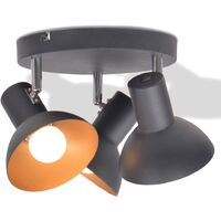 Ceiling Lamp for 3 Bulbs E27 Black and Gold