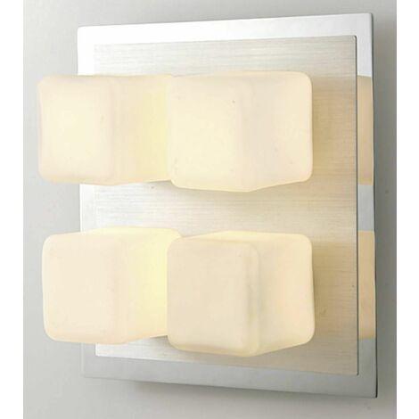 Ceiling lamp IP44 Cube 4 Bulbs polished chrome & Aluminum / opal glass