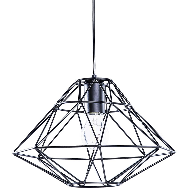 Image of 1 Light Black Pendant Ceiling Cage Shape Geometric Metal Naked Wire
