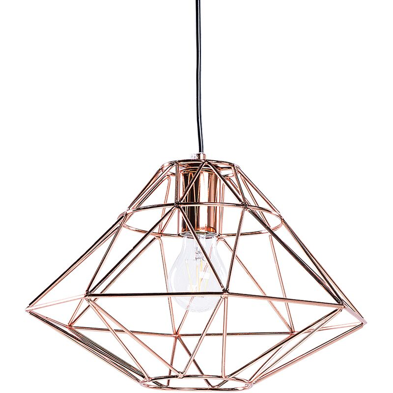 Image of 1 Light Copper Pendant Ceiling Cage Shape Geometric Metal Naked Wire