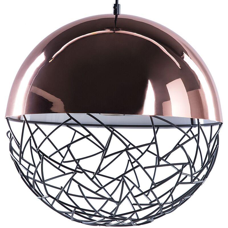Image of 1-Light Globe Pendant Light Copper Lamp Framework Modern
