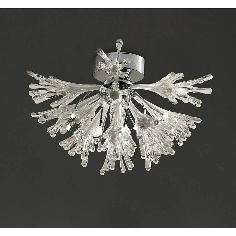 Image of 09-diyas - Ceiling lamp Love Small 9 Bulbs polished chrome / frosted white