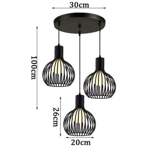 Ceiling Lamp Set of 3 black retro industrial style cage chandeliers
