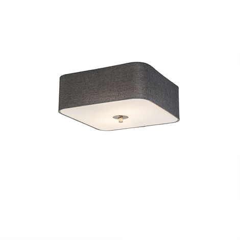 Ceiling lamp square gray 30 cm - Drum deluxe Jute