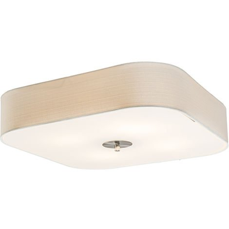 Ceiling lamp square white 50 cm - Drum deluxe Jute