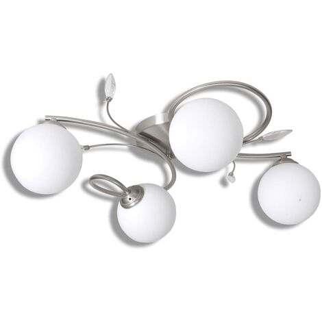 Ceiling Lamp Transparent Acrylic Leaves and Glass Shades for 4 G9Bulbs