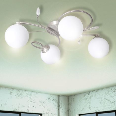 Ceiling Lamp Transparent Acrylic Leaves and Glass Shades for 4 G9Bulbs VD08753