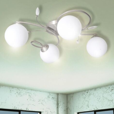 Ceiling Lamp Transparent Acrylic Leaves and Glass Shades for 4 G9Bulbs - White