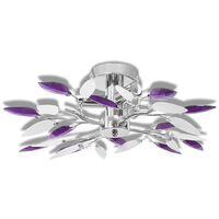 Ceiling Lamp White & Purple Acrylic Crystal Leaf Arms 3 E14 Bulbs