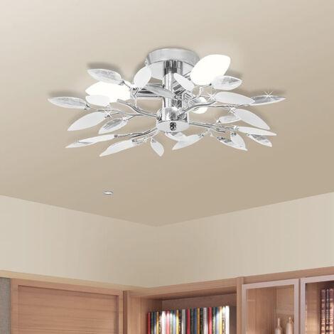 Ceiling Lamp White & Transparent Acrylic Crystal Leaf Arms 3 E14 Bulbs