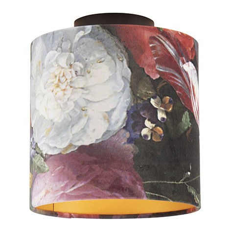 Ceiling Lamp with 20cm Velvet Floral Shade - Combi Black